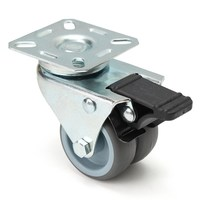 MTGATHER 4x Heavy Duty Casters 2 Inch Wheels Swivel Plate With Brake Rubber Furniture Caster PU