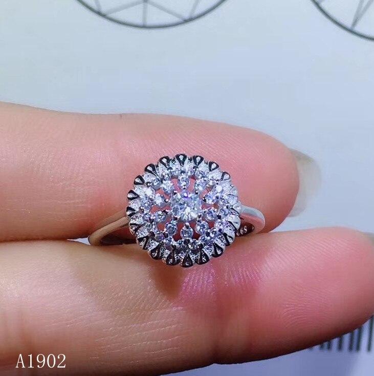 KJJEAXCMY bijoux fins 925 argent sterling incrusté naturel poudre cristal hibiscus pierre gemmes femelle luxe anneau support detectio