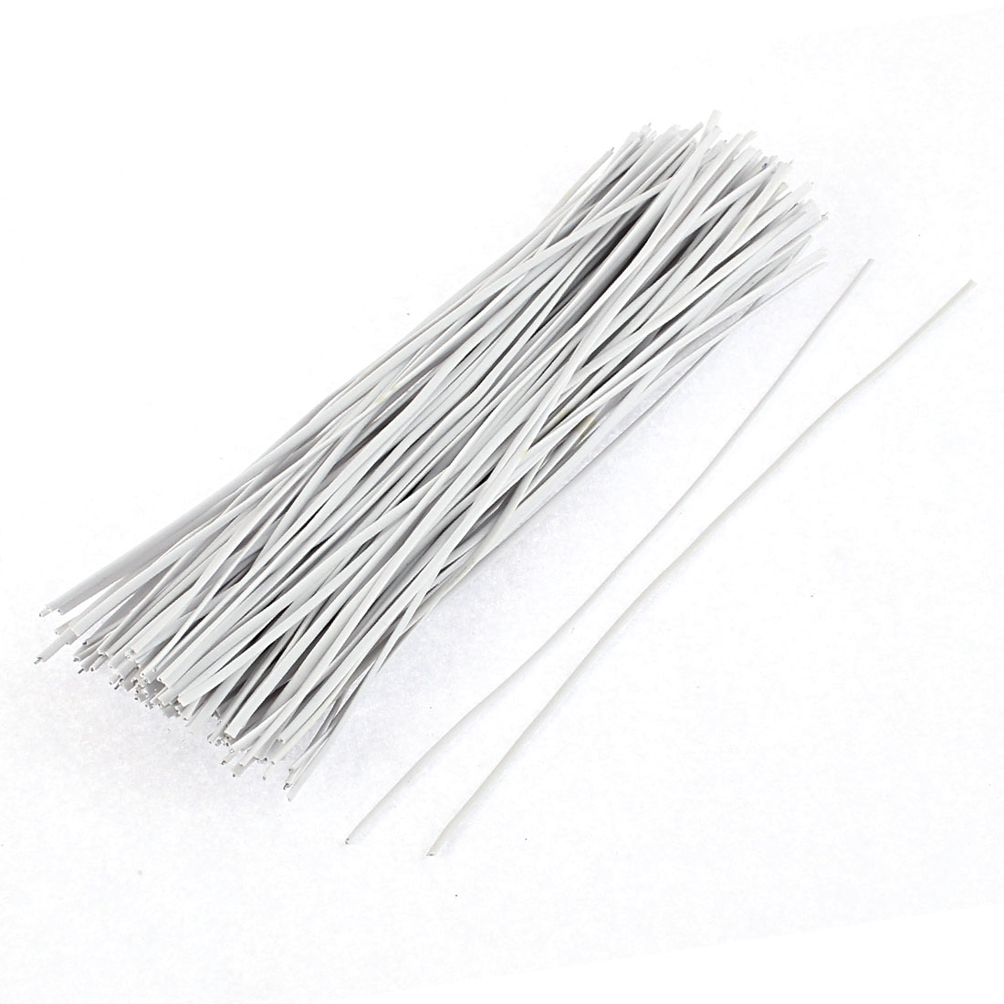 UXCELL 130Pcs 150Mm X 2Mm White Plastic Coated Metal Cord