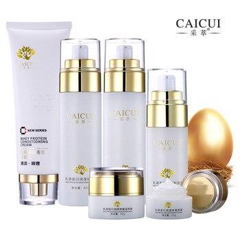 6pcs CAICUI Collagen Protein Face Skin Care Set Cleanser Face Cream Toner Emulsion BB Cream Eye Cream Anti-aging Cosmetics