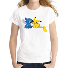 2017 Newest Pokemon Go Women T Shirt Short Sleeve Pokebenders T-shirt Pikachu Stitch Printed Funny Tee Shirts