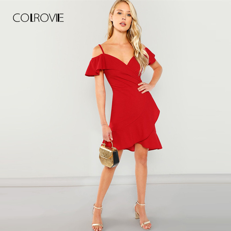 COLROVIE Red V Neck Wrap Ruffle Sexy Bodycon Dress 2018 Autumn Cold  Shoulder Surplice Party Dress Elegant Straps Women Dresses-in Dresses from  Women s ... 1606876ddfcb
