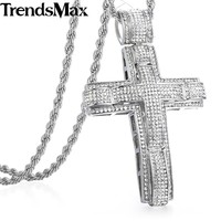Hip Hop Iced Out Bling Full Rhinestone Cross Pendant Necklace For Men Stainless Steel Rope Chain