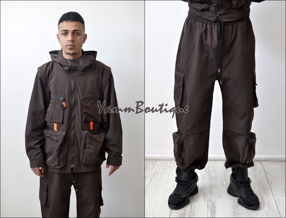 Sets Men Fashion Detachable Cargo Waistcoat With Pockets Military Jacket And Loose Fit Elastic Waist Buckle Pants Hip Hop