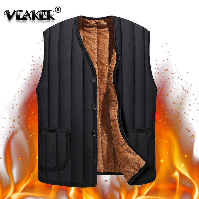 2018 mannen Zwarte Fleece Vest Winter Mouwloze Bovenkleding Warme Fleece voering Vesten Plus Size 3XL