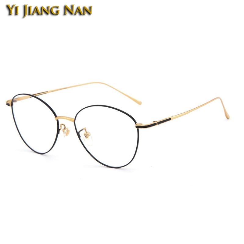 Frauen Große black Black Gold Gläser demo Top Nan Männer Gold Optische Brillen Bright Titan Vintage Retro Rahmen Qualität Kreis Yi With brown Rezept Jiang qTx7USn4t