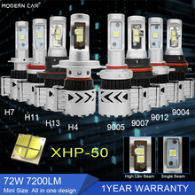 MODERN CAR Headlights XHP 50 Chips LED Headlamp Bulb H1 9005 9006 H4 H7 9012 H13 H11 9004 9007 Fog Lamp 72W 7200LM 6000K Lights