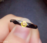 KJJEAXCMY boutique jewelry 925 sterling silver inlaid natural yellow gems women's luxury ring support detection