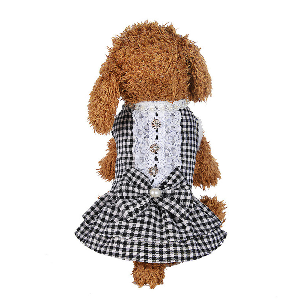 Lovely Pet Dog Puppy Cat Grid Pattern Lace Bowknot Dress Costume Clothes Apparel