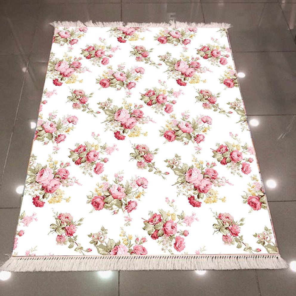 Else White Retro Pink Roses Flowers Floral Vintage 3d Microfiber Anti Slip Back Washable Decorative Kitchen Area Rug Carpet