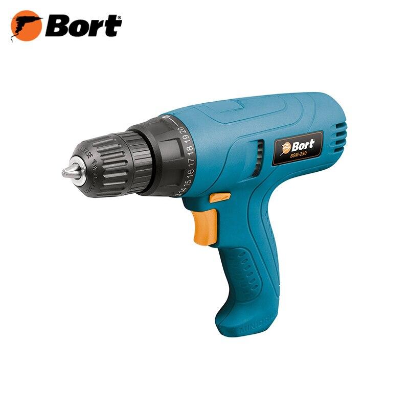 Drill Bort BSM-250 power tool screwdriver electric 12v power tools electric drill electric cordless drill electric drilling battery drill 2 batteries screwdriver new style