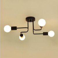 Retro Loft Nordic Pipe Wrought Iron Ceiling Lights Ceiling Lamp for Living Room Bedroom Vintage Ceiling Lights lampara techo
