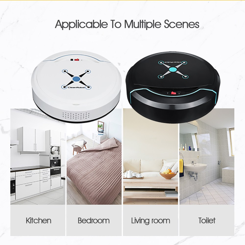 Black/White Rechargeable Robot Vacuum Cleaner Automatic Wet Dry USB Smart Floor Cleaner Sweeping Machine Household Appliances fenix uc02 rechargeable black