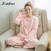 Fulljion Autumn And Winter Women Pyjama Set Thick Warm Coral Velvet Suit Flannel Long Sleeve Cute