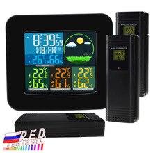 Digitale Weerstation RCC DCF met 3 Indoor/Outdoor Draadloze Sensoren 6 soorten Weersverwachting Thermometer en Hygrometer