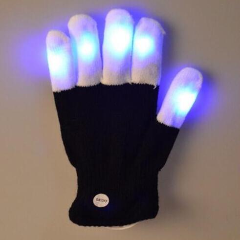 Intellective Led Lampeggiante Rave Guanto 1 Pezzo Glow 7 Modalità Light Up Punta Di Dito Di Illuminazione Nero Vd Nuovo Guanto Caldo