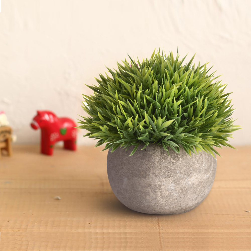 Mini Plastic Artificial Green Grass Emulational Potted Plant For Home Office Decor