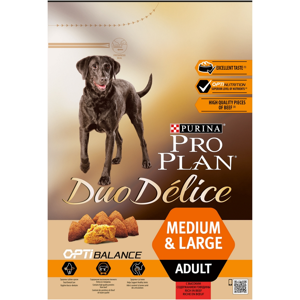 Dog Dry Food Pro Plan Duo Delice Medium & Large for adult dogs of medium and large breeds, Beef, 2,5 kg. dog dry food pro plan medium adult for adult dogs of medium breeds chicken 1 5 kg