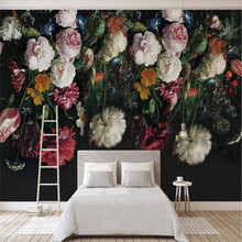 European retro hand-painted flowers TV background wall professional production of wallpaper murals custom home
