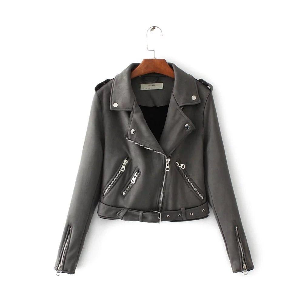 23efaafe8cbc YOCALOR Suede Zipper Bomber Baseball Jacket Ladies  Leather Basic Za Womens  Autumn Jackets For Female Coat Women Jaqueta Fashion