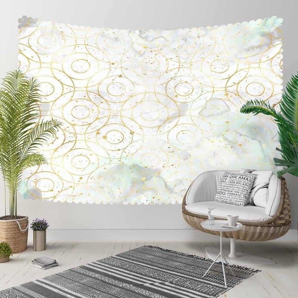 Autre Nordec Vite nuages gris sur anneaux jaune doré impression 3D décoratif Hippi bohème tenture murale paysage tapisserie Art mural