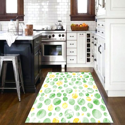 Else Green Yellow Watercolor Circle Geometric 3d Print Non Slip Microfiber Kitchen Modern Decorative Washable Area Rug Mat