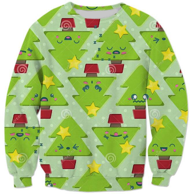 Ugly Christmas Jumper with tree design Sweatshirt Casual Long Sleeve Outfits Women/Men Green Crewneck Tumbrl Style Pullover Top