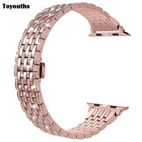 Toyouths Bling for Apple Watch Band Crystal Rhinestone Womens for iWatch Luxury Wristband Diamond Stainless Steel Strap