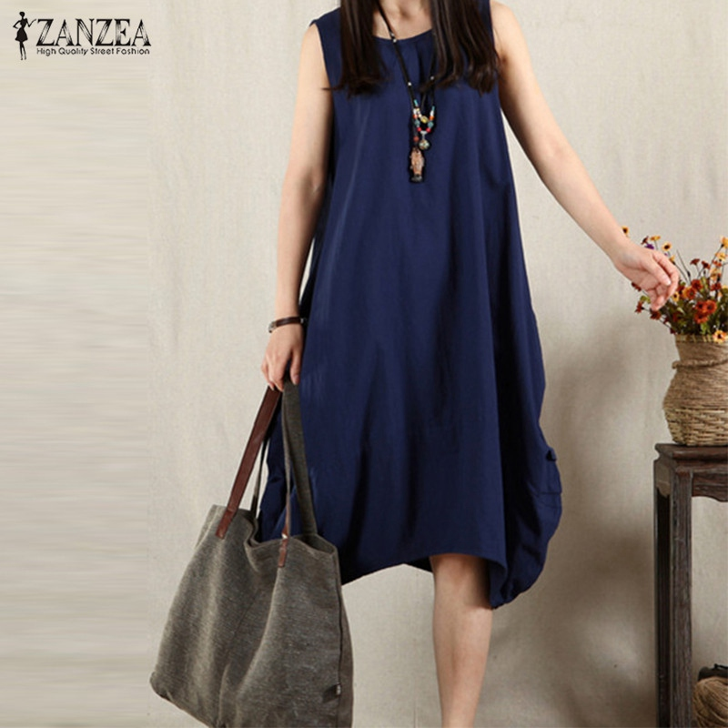 be6b175d2896 ZANZEA 3 Colors Women Summer Dress Sexy Sleeveless O Neck Casual Loose  Baggy Pockets Midi length Dress Plus Size Vestidos-in Dresses from Women s  Clothing ...