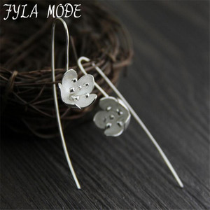 Fyla Mode Real 925 Sterling Silver Natural Handmade Fine Jewelry Vintage Poetic Flower Fashion Drop Earrings for Women Brincos