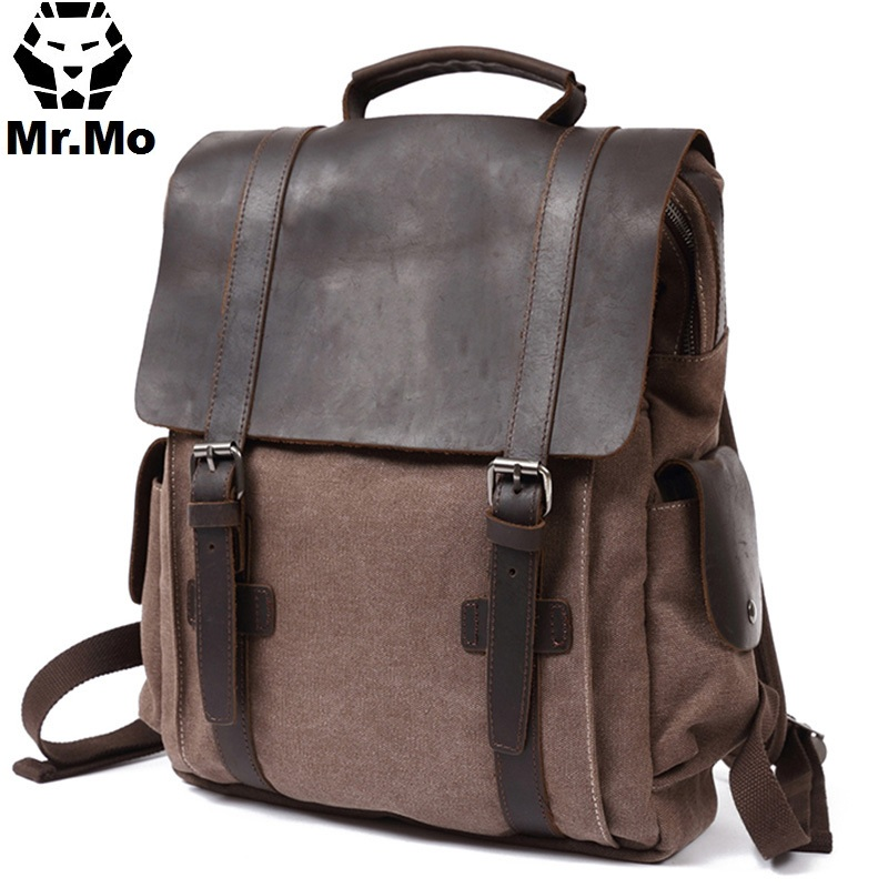 Best Men School Bags BookBag with Side Pockets Fashion 14 Inch Laptop Canvas Leather Multifunction Backpacks Rucksack Knapsack