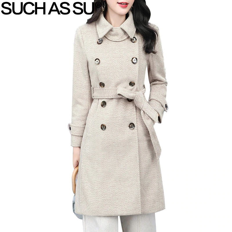 New 2018 Fashion Woolen Coats Womens 5 Color A Line Double Breasted Striped Fall Winter Long M-3XL Plus Size Coat Female