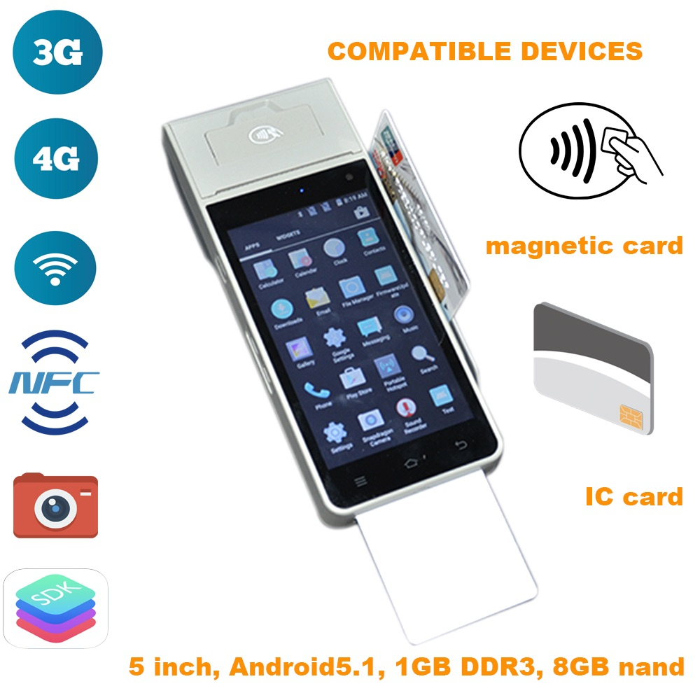 5 Inch Android5.1 Handheld All In One POS Terminal (3G/4G, Wifi, NFC, Camera, Magnetic/IC Card Reader, SDK Provided, Battery)
