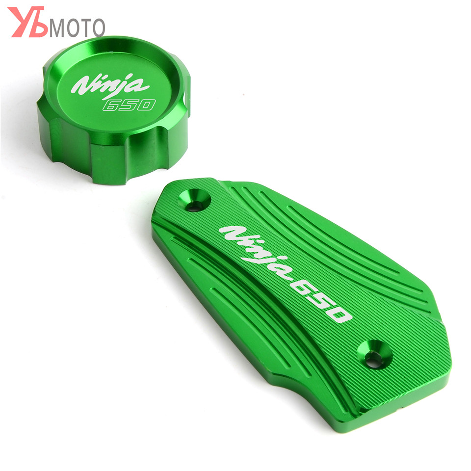 Motorcycle Front & Rear Fluid Reservoir Cover Cylinder Reservoir Brake Cap For <font><b>Kawasaki</b></font> <font><b>NINJA</b></font> <font><b>650</b></font> NIINJA650 2016 2017 2018 2019 image