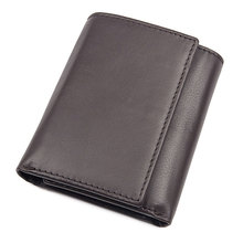 Money Wallets Man Mini Coffee Vintage Real Leather RFID Wallet ID Card Holder Male  Black Cow for Men