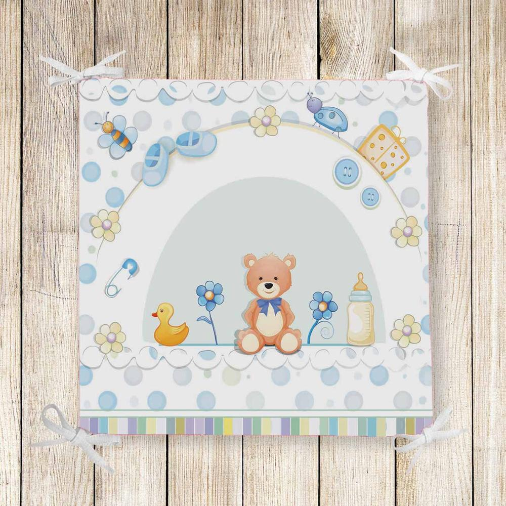 Else Blue Baby Boots Toys Duck Bear 3d Print Chair Pad Seat Cushion Soft Memory Foam Full Lenght Ties Non Slip Washable Square