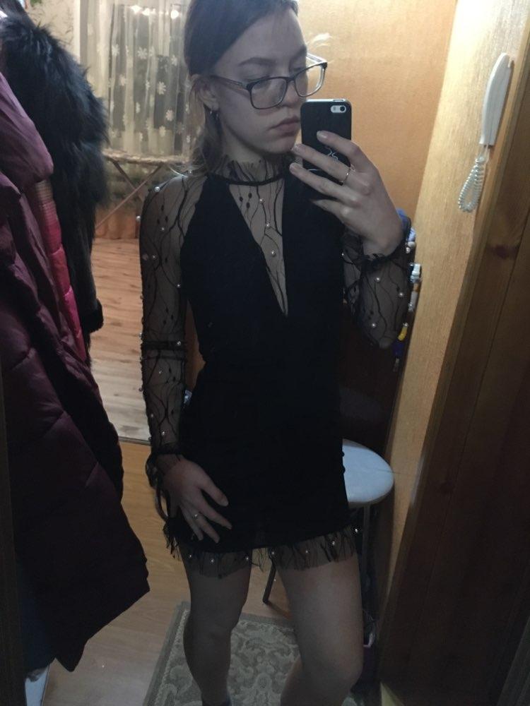 COLROVIE Black Pearl Beading Vine Mesh Panel Dress Women Ruffle Round Neck Long Sleeve Sexy Dress 2018 Party Bodycon Dress