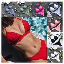 Swimsuit Women Bikini 2019 Mujer Push Up Set Halter Black Swimsuits Two Pieces Swim Red Swimwear Bathing Suit