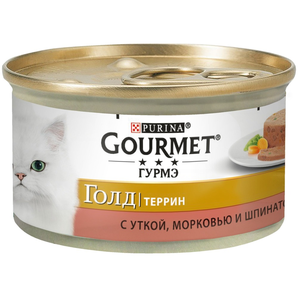 цена на Wet food Gourmet Gold Terrine (pieces in paste) for cats with duck, carrots and spinach in French, Bank, 24x85 g.