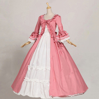 Western Spring Women's Two piece Vintage Victorian Dress Female Cotton Ruffle Halloween Lolita Costume Long Gothic Party Dresses