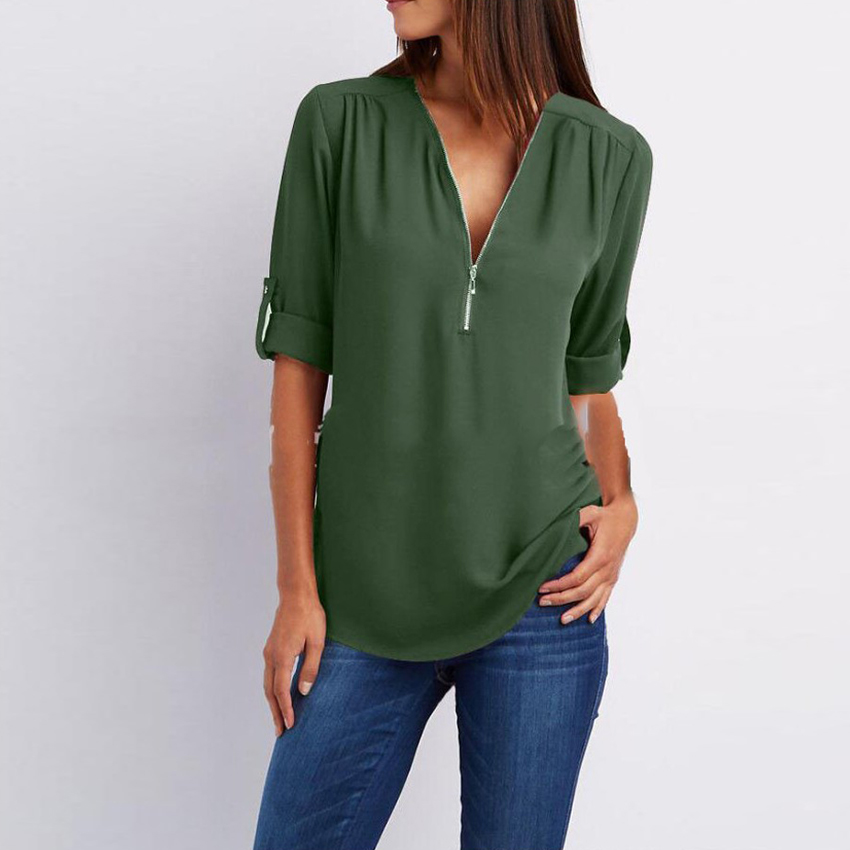 Women   Shirts   Summer Autumn Casual V-neck Chiffon   Blouse   Women Top Long Sleeve Ladies   Blouses     Shirt