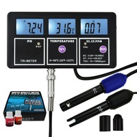 5 in 1 Water Quality Multi parameter PH EC CF TDS (ppm) Temperature Test Meter Backlight, Wall mountable Rechargeable Tester