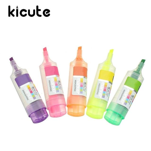 Aliexpress Com Buy Kicute 5pcs Set Fluorescent Highlighter Pen