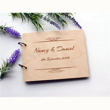 Personalized Guestbook Wedding Guest Book A4 Wooden Notebook Album Custom Name & Date Lettering Book Wood Wedding Decoration(China)