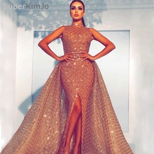 SuperKimJo 2018 High Neck Evening Dresses Robe De Soiree Detachable Skirt Champagne Arabic Gowns Long