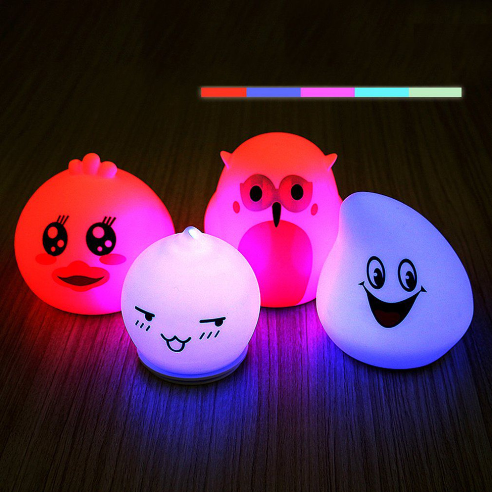 Mini Silicone Cartoon LED Night Light Colorful Lovely Animal Atmosphere Battery Powered Table Lamp Bedroom Sleeping Lights Gift
