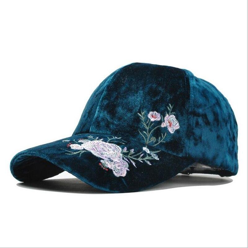 Seioum New Arrival Velvet Embroidery Rose Flower   Cap   Women Bonnet   Baseball     Cap   Winter Fashion Hat For Men Wholesale Gorros