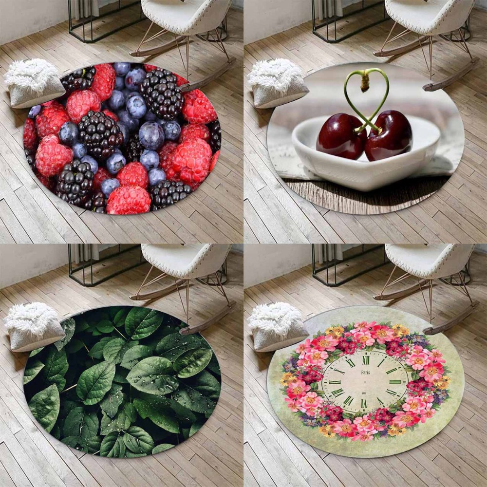 Else Fresh Fruits Geen Leaves Flowers 3d Non Slip Microfiber Round Carpets Area Rug For Living Rooms Kitchen Bedroom Bathroom