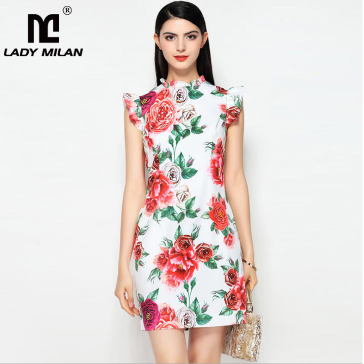 Lady Milan 2018 Womens O Neck Sleeveless Floral Printed Ruffles High Street Fashion Summer Runway Dresses