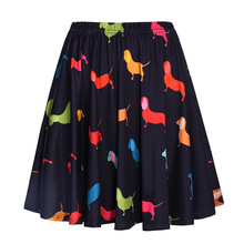 Vintage Retro Satin Animal Pleated Skirts High Waist A-Line Skirt Summer Women